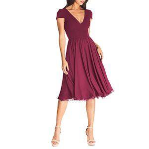 DRESS THE POPULATION Corey Flare Chiffon Dress Magenta Large (8-10) NEW